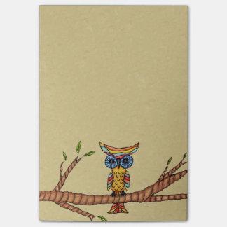 Post-it® Branche d'arbre colorée de fantaisie de hibou
