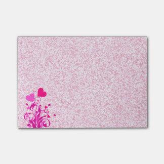 Post-it® Coeurs floraux sur le rose scintillant