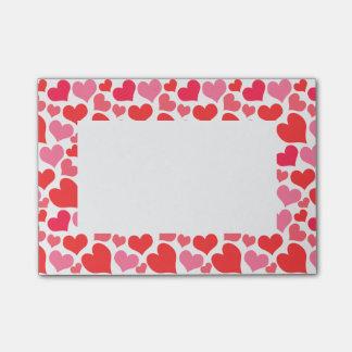 Post-it® Coeurs rouges et roses de Saint-Valentin pour