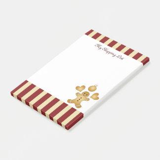 Post-it® Coutume mignonne de rayure rouge de biscuits de