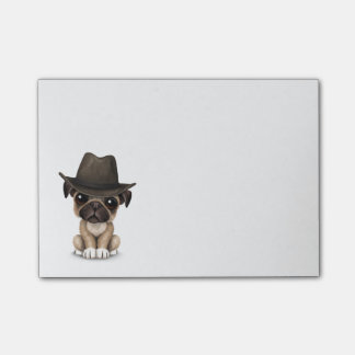Post-it® Cowboy mignon personnalisable de chiot de carlin