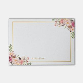 Post-it® Décor floral rose chic élégant avec le cadre d'or