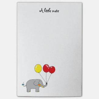 Post-it® éléphant mignon avec des ballons de partie