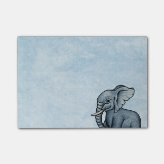 Post-it® Éléphant mignon sur les notes de post-it bleues