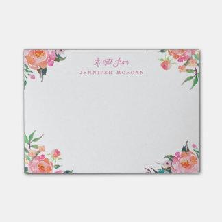 Post-it® Fleurs roses pourpres de belle aquarelle