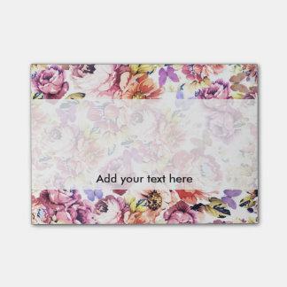 Post-it® Fleurs vintages de roses de rose de papillon de