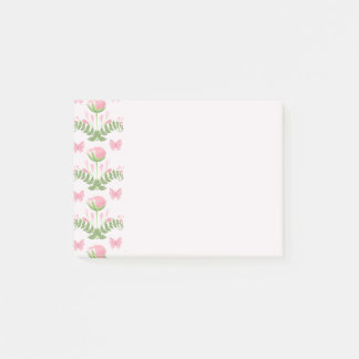 Post-it® Floral assez rose et papillon