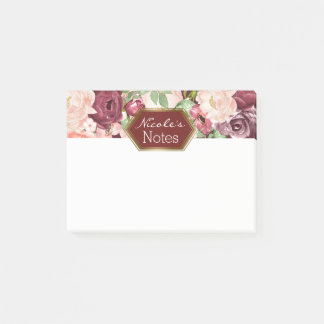 Post-it® Floral rustique marron de Marsala Bourgogne