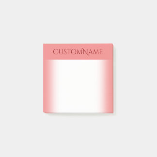 Post-it® Fond de corail clair élégant avec le nom rouge