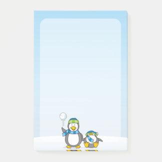 Post-it® Lancer des boules de neige des pingouins