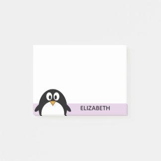 Post-it® lavande mignonne et noir de pingouin de bande
