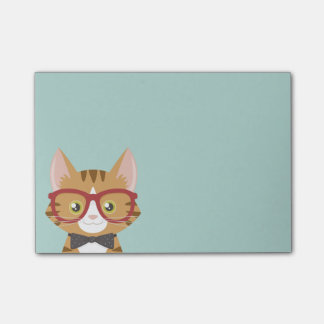 Post-it® Le chat tigré orange de hippie badine des notes de