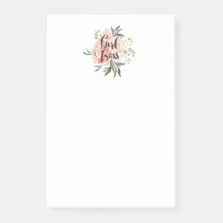 Post-it® Le ressort rougissent patron floral de fille