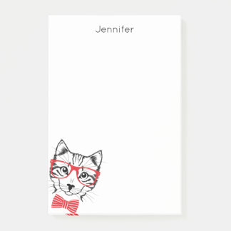 Post-it® Le rouge de chat de hippie ajoutent votre nom