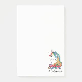 Post-it® Licorne mignonne d'arc-en-ciel d'aquarelle