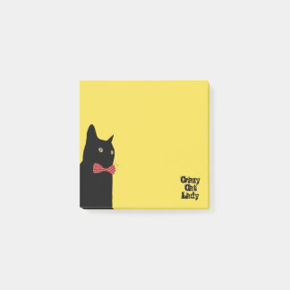 Post-it® Madame folle de chat - chat noir avec la cravate