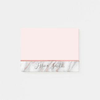 Post-it® Marbre rose personnalisé d'aluminium d'or rose de