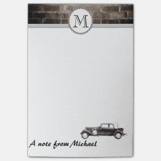 Post-it® Monogramme chic de voiture de mur de briques
