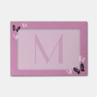 Post-it® Monogramme de papillon sur le rose
