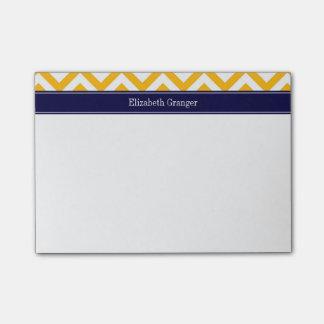 Post-it® Monogramme doré de nom de bleu marine