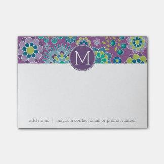 Post-it® Monogramme floral coloré génial de coutume de