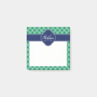 Post-it® Monogramme marocain blanc de marine de motif de