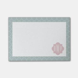 Post-it® Monogramme rose et vert de Quatrefoil
