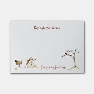 Post-it® Monogramme rouge d'hiver d'arbre d'oiseau de