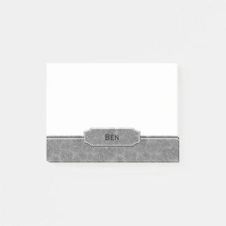 Post-it® Monogramme simili cuir gris