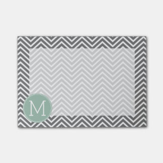 Post-it® Monogramme vert de coutume de chevrons de charbon