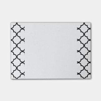 Post-it® Motif blanc noir de Quatrefoil, votre monogramme