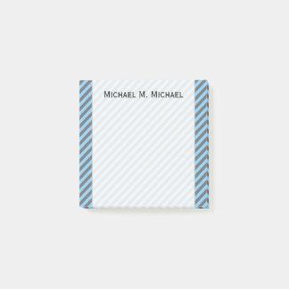 Post-it® Motif bleu-clair et gris de rayures + Nom fait sur