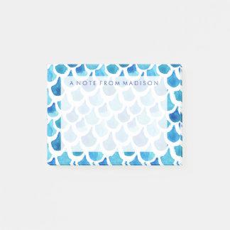 Post-it® Motif bleu d'échelle d'aquarelle