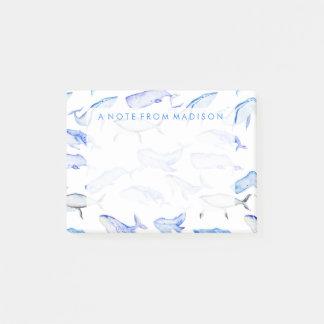 Post-it® Motif de baleine bleue d'aquarelle
