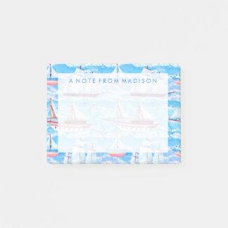 Post-it® Motif de bateaux de navigation d'aquarelle