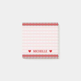 Post-it® Motif de forme de diamant et nom rouges et gris de