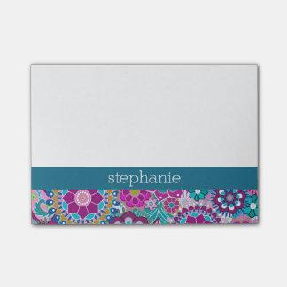 Post-it® Motif floral turquoise et rose avec le nom fait