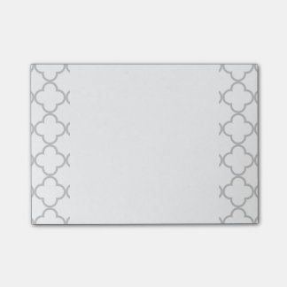 Post-it® Motif gris de Quatrefoil, votre monogramme