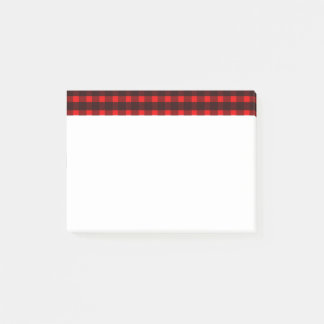 Post-it® Motif noir rouge de plaid de tartan