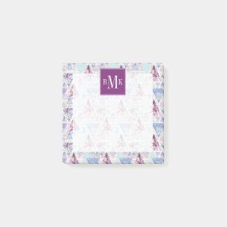 Post-it® Motif rose et bleu d'aquarelle de palmier