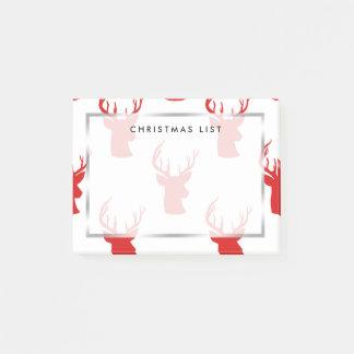 Post-it® Motif rouge de vacances du mâle   Antler du renne