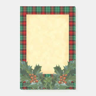 Post-it® Motif vert rouge de plaid de vacances avec le houx