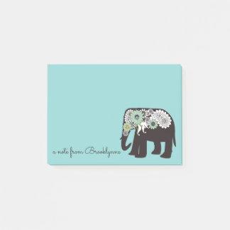 Post-it® Nom moderne mignon de turquoise d'éléphant de