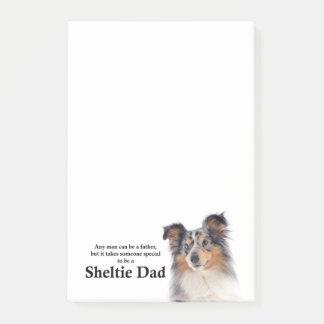 Post-it® Notes de post-it bleues de papa de Merle Sheltie