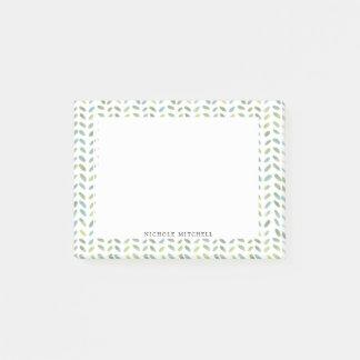 Post-it® Notes de post-it bleues et vertes d'aquarelle de