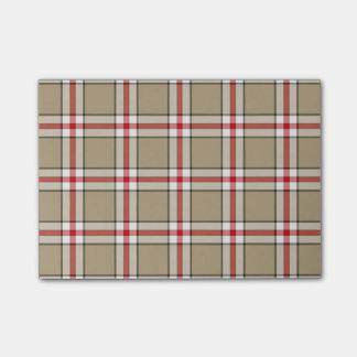 Post-it® Notes de post-it de plaid de rouge/Taupe