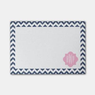 Post-it® Notes de post-it décorées d'un monogramme bleues