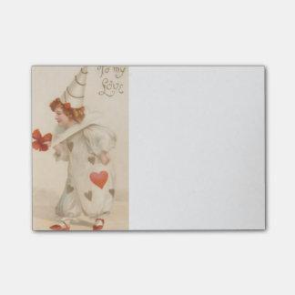 Post-it® Notes de post-it vintages de clown de Valentine