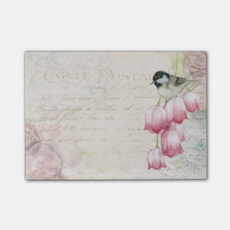 Post-it® Oiseau et fleurs avec le cru minable d'écriture