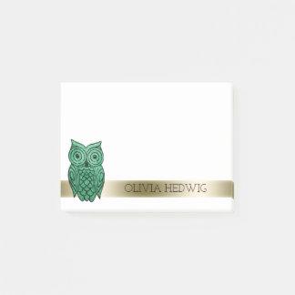 Post-it® Or vert nommé personnalisé par hibou mignon